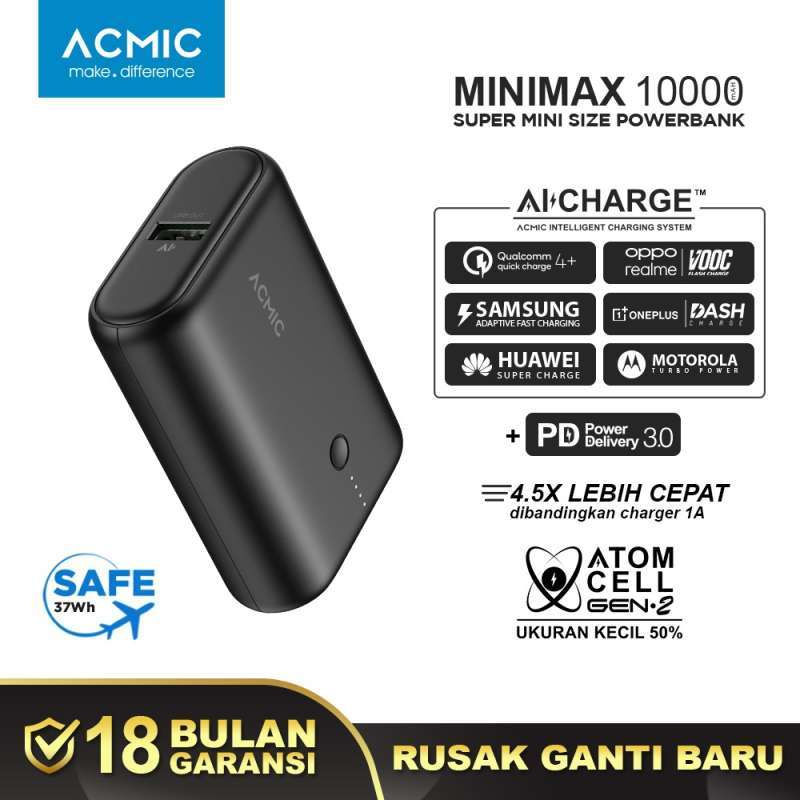 ACMIC MINIMAX SuperMini AiCharge Power Bank 10000 mAh QC4 PD VOOC