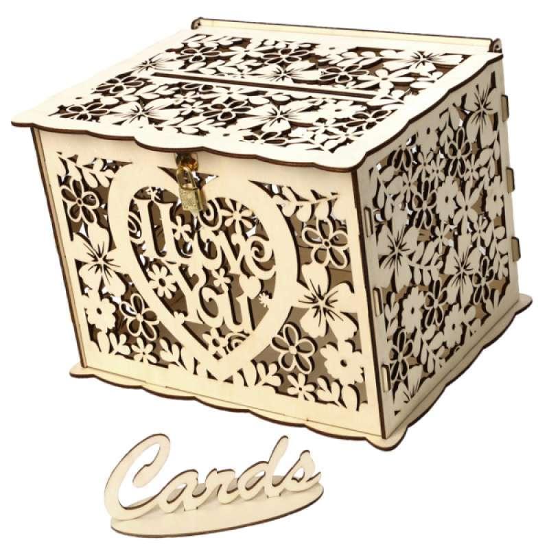 Jual Rustic Hollow Wedding Card Box Wooden Wedding Card Box W Lock And Card Sign Online April 2021 Blibli