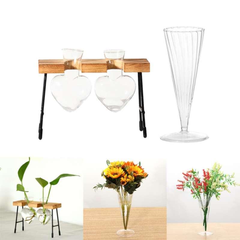 Jual 2pcs Glass Test Tube Vase In Wooden Stand Home Decor Heart Shaped Desktop Vase Online Februari 2021 Blibli