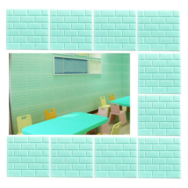 Jual 10x 3d Pe Brick Wall Sticker Self Adhesive Diy Panels Room Decor Green Online Januari 2021 Blibli