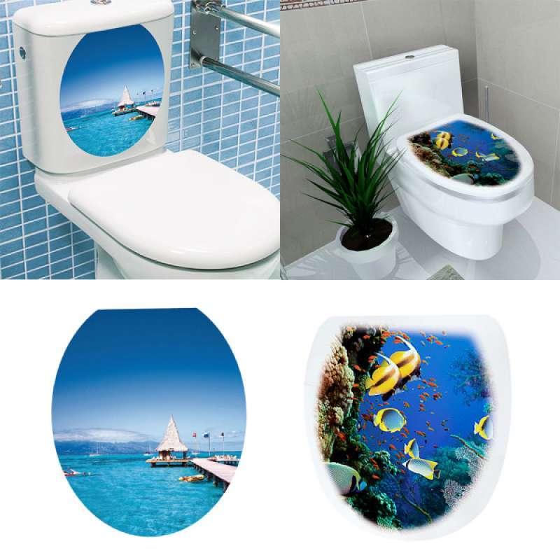 Jual 2pcs Diy Toilet Seat Wall Sticker Decals Vinyl Art Removable Bathroom Decor Online Januari 2021 Blibli