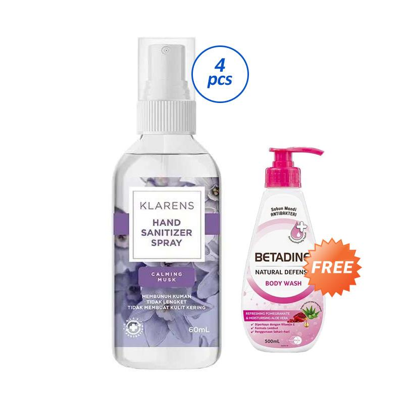 Buy 4 Klarens Calming Musk Hand Sanitizer 60 mL Free BETADINE Pomegranate Body Wash 500 mL