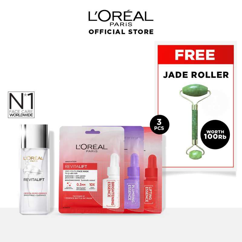 L Oreal Paris Revitalift Crystal Micro Essence 65 mL Pro Youth Mask 3 Pcs Free Jade Roller