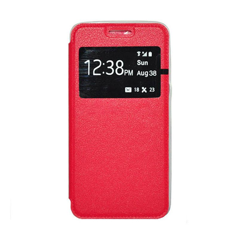 OEM Leather Book Cover Casing for Xiaomi M3 - Red