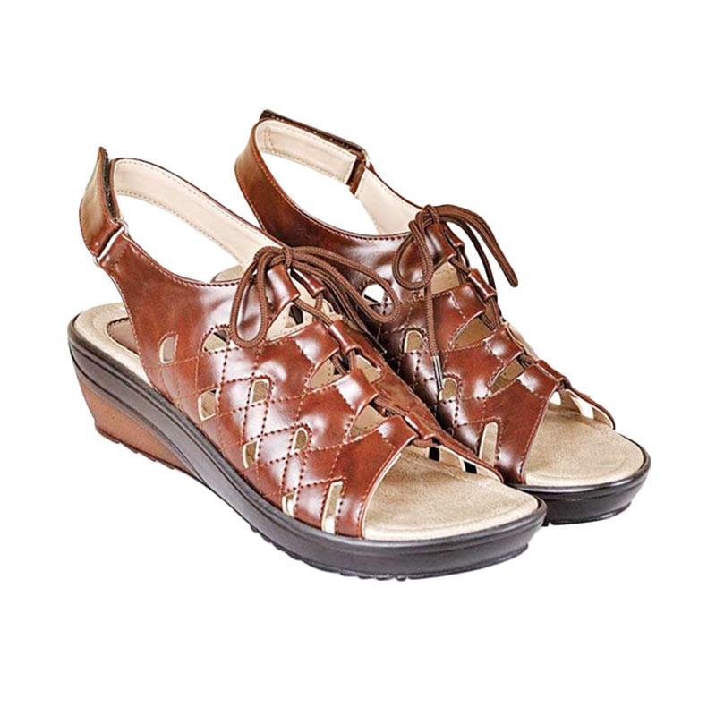 harga CBR SIX Danica Sandal Wedges Wanita - Cokelat Blibli.com