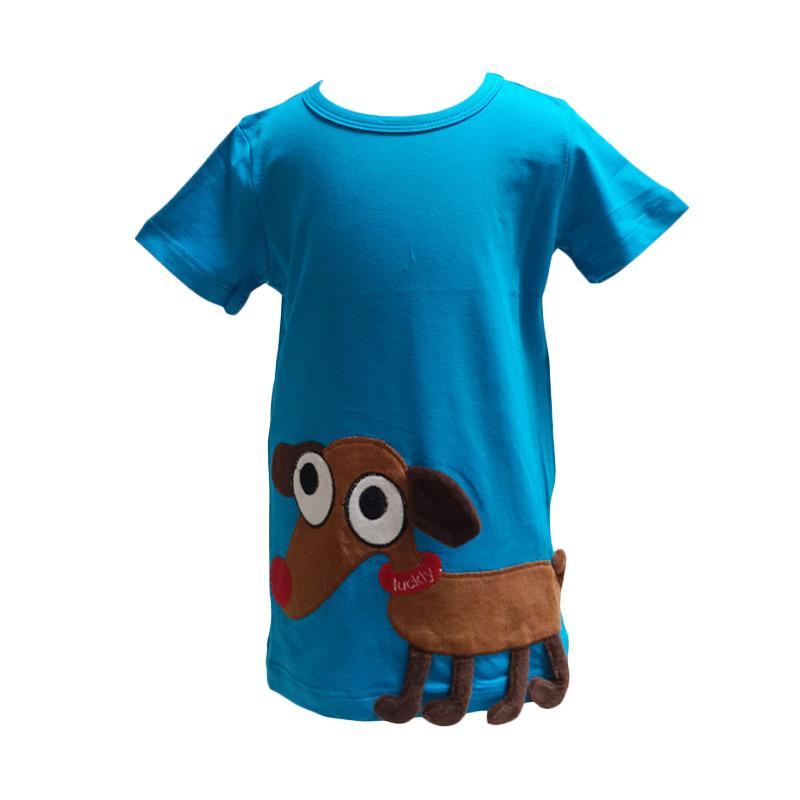 Chloebaby Shop 3D Dog C62 T-shirt Anak - Biru