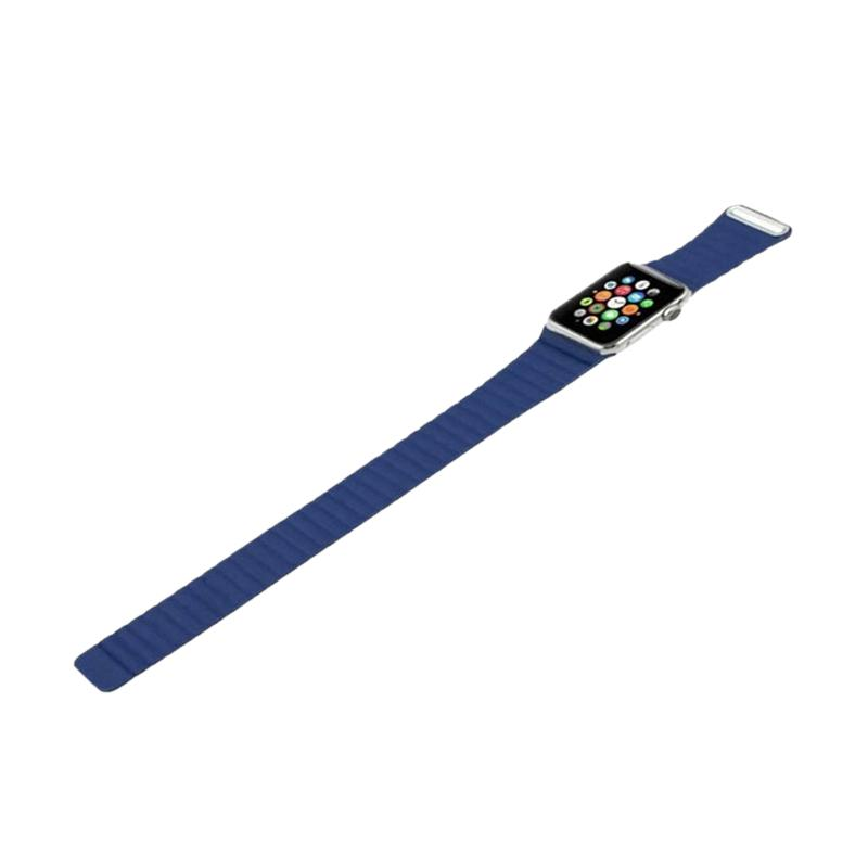 LOLLYPOP Strap Leather Loop Band for Apple Watch 38mm - Navy