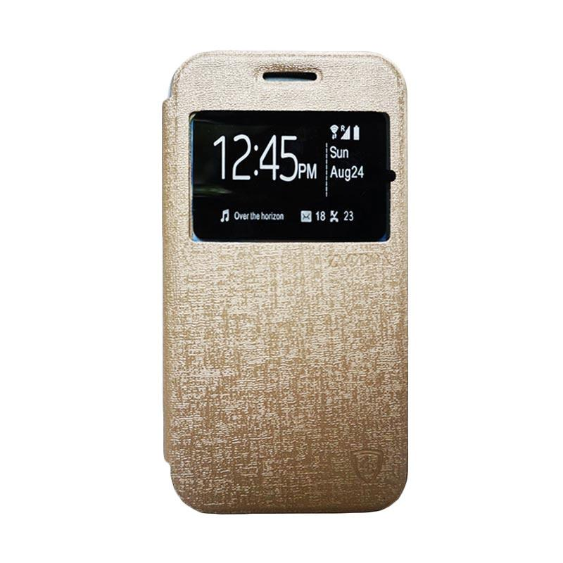 Zagbox Flip Cover Casing for Samsung Galaxy E7 - Gold