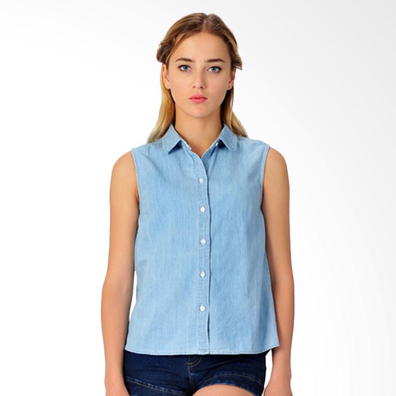 Sjo & Simpaply Circle Collar Women's Blouse - Blue