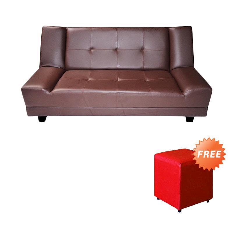 FCENTER Sofa Bed Lantana Coklat + FREE PUFF [ JABODETABEK ]