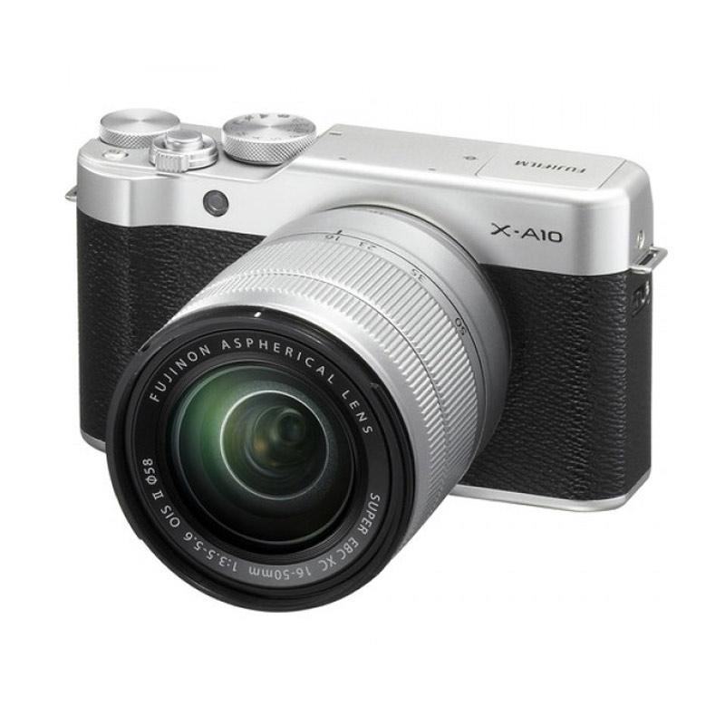 harga FUJIFILM X-A10 SILVER + SUPER EBC XC 16-50mm Lens WiFi APS-C CMOS Sensor 16MP ISO 25600 + SanDisk 16gb Class4 + Screen Protector + Filter 58mm + Camera Bag + Takara ECO-173A Blibli.com