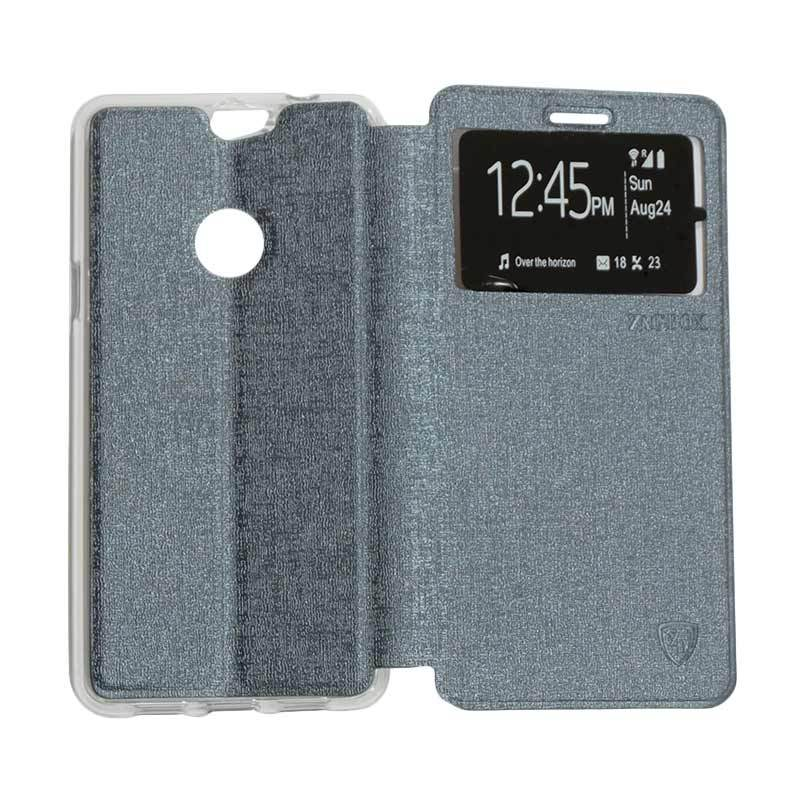 harga Ume Flip Cover Casing for Coolpad Max Flipshell / Leather Case / Sarung HP / Sarung Handphone / View - Silver Blibli.com