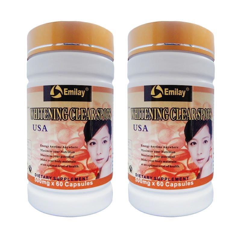Pemutih Badan Dan Wajah Emilay USA Whitening Softgel Original Putih Bersih [2 Botol]