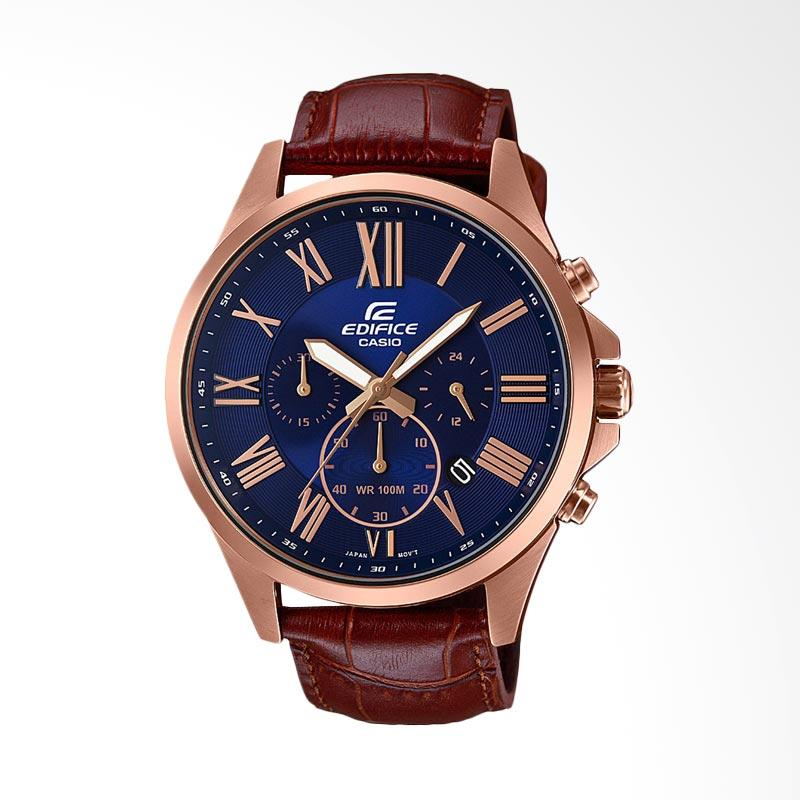 CASIO EDIFICE Chronograph Genuine Leather Jam Tangan Pria - Coklat EFV-500GL-2AVUDF