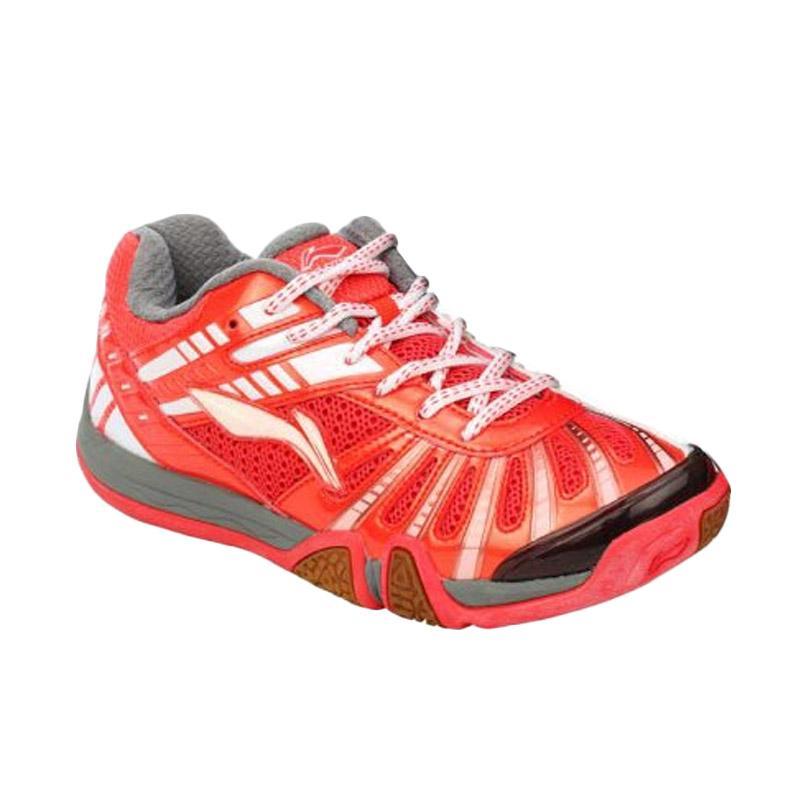 harga LINING Saga Galaxy Sepatu Badminton - Red White AYTJ061-2 Blibli.com