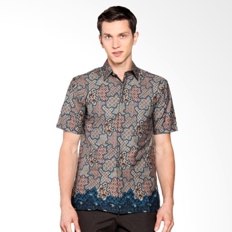 Batik Heritage Katun Flower Island Slim Fit Kemeja Batik Pria - Toska