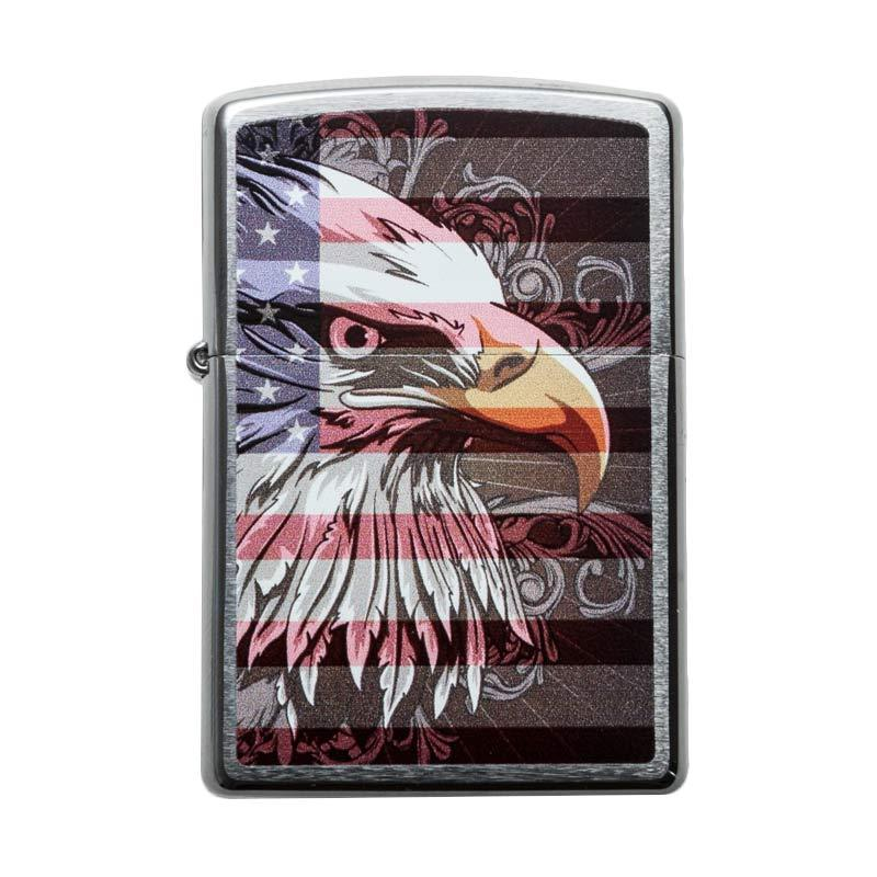 Zippo American Eagle and Flag Pocket Lighter - Brushed Chrome