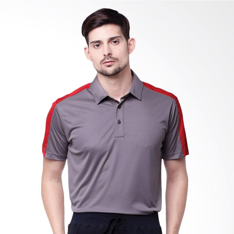 Svingolf Lombok Polo Golf Kaos Pria - Titanium Grey Flag Red