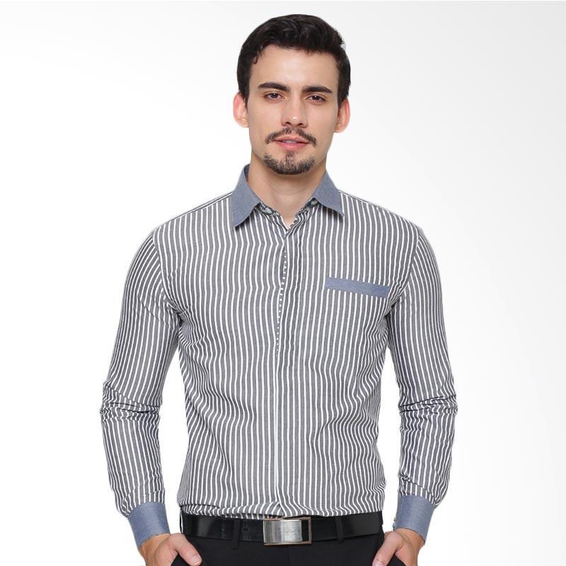 Enzy Batik Shirt Long Sleeve Striped Kemeja Pria - Grey