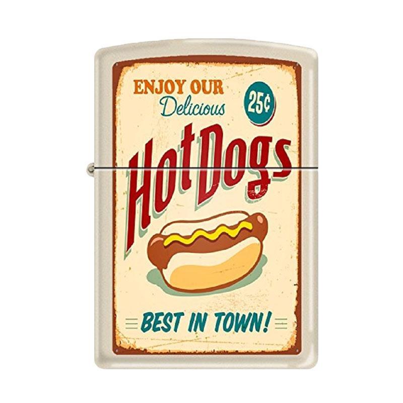 Zippo Hot Dogs Best In Town Poster Cream Matte Windproof New Rare Lighter