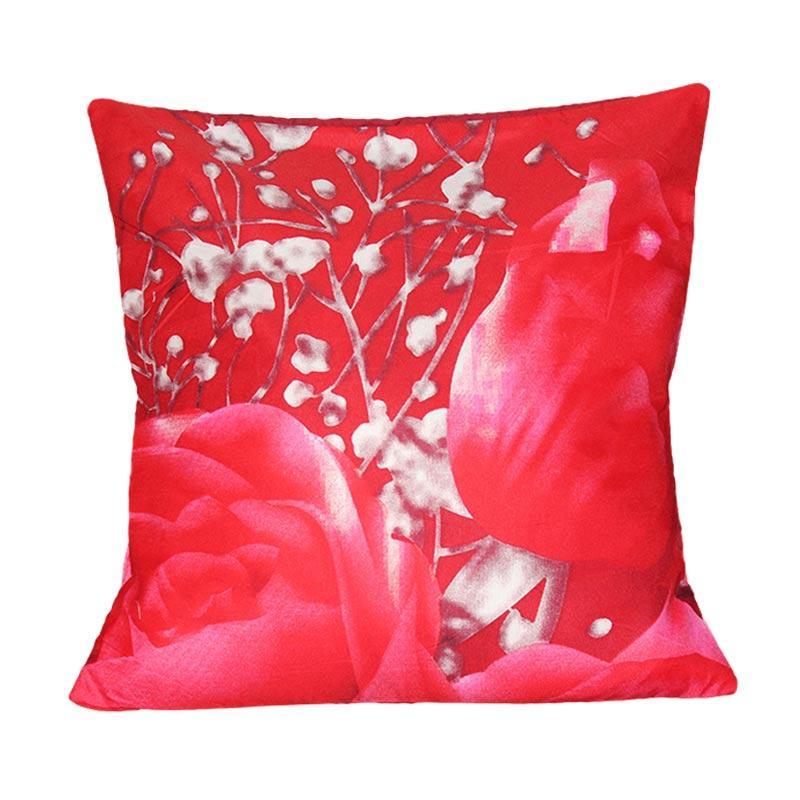 Monalisa Motif Tulip Merah Sarung Bantal Sofa [40 x 40 cm]