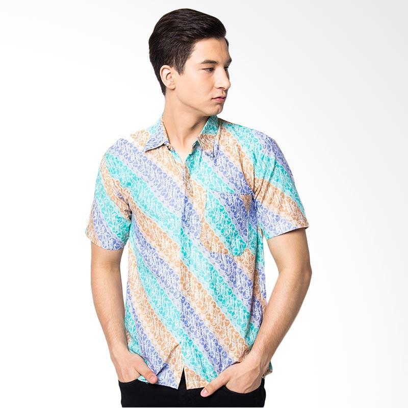 Jening Batik Slim Fit Short Sleeve Baju Batik Pria - Green Brown JNG005
