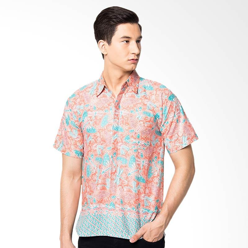 Jening Batik Slim Fit Short Sleeve Baju Batik Pria - Red JNG006