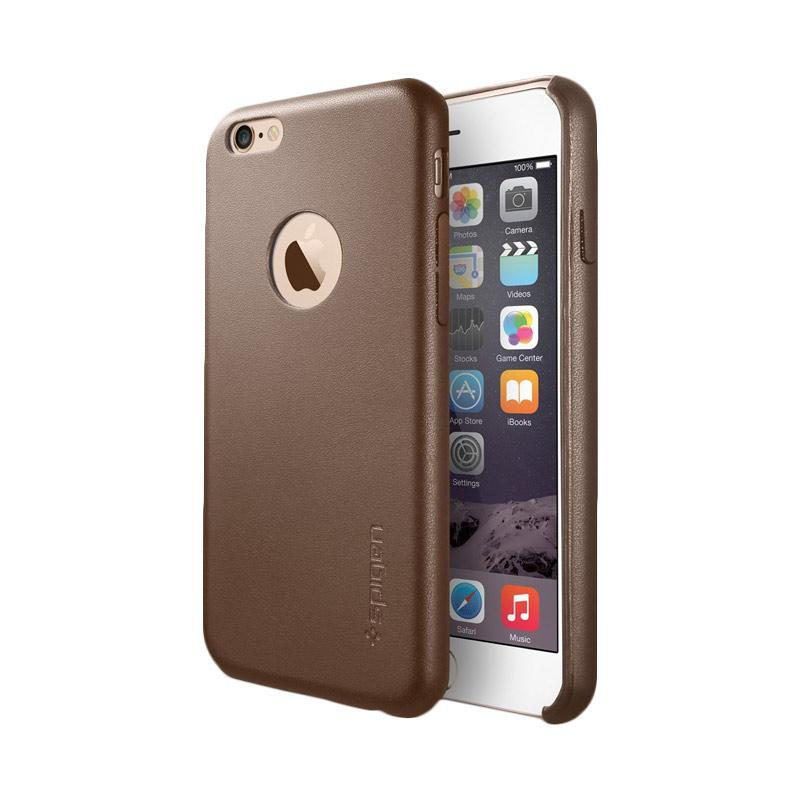 Spigen Leather Fit Casing for iPhone 6 Plus - Olive Brown