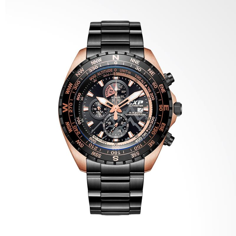 Expedition Chronograph Stainless Steel Altimeter Jam Tangan Pria - Black Rosegold EXP6739MC