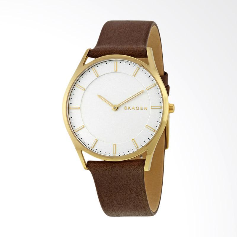 Skagen SKW6225 Holst Silver Dial Brown Leather Ladies Watch Jam Tangan Wanita - Brown