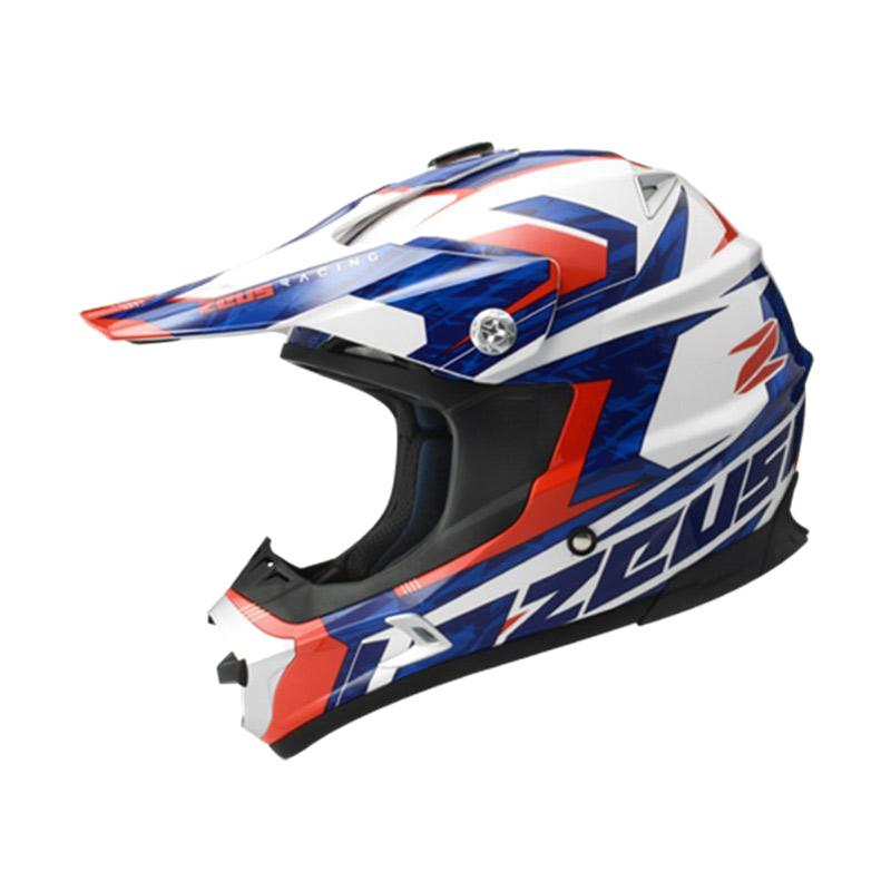Zeus ZS-951 Motocross Grafik Helm Full Face - Putih RR12 Merah