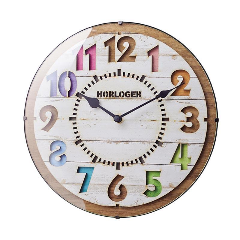 Zeller Life Rustic Modern Home Decor Round Clock Forli Wooden Jam Dinding - White