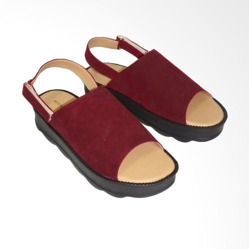 Anneliese Darcy Sandal Wedges - Maroon
