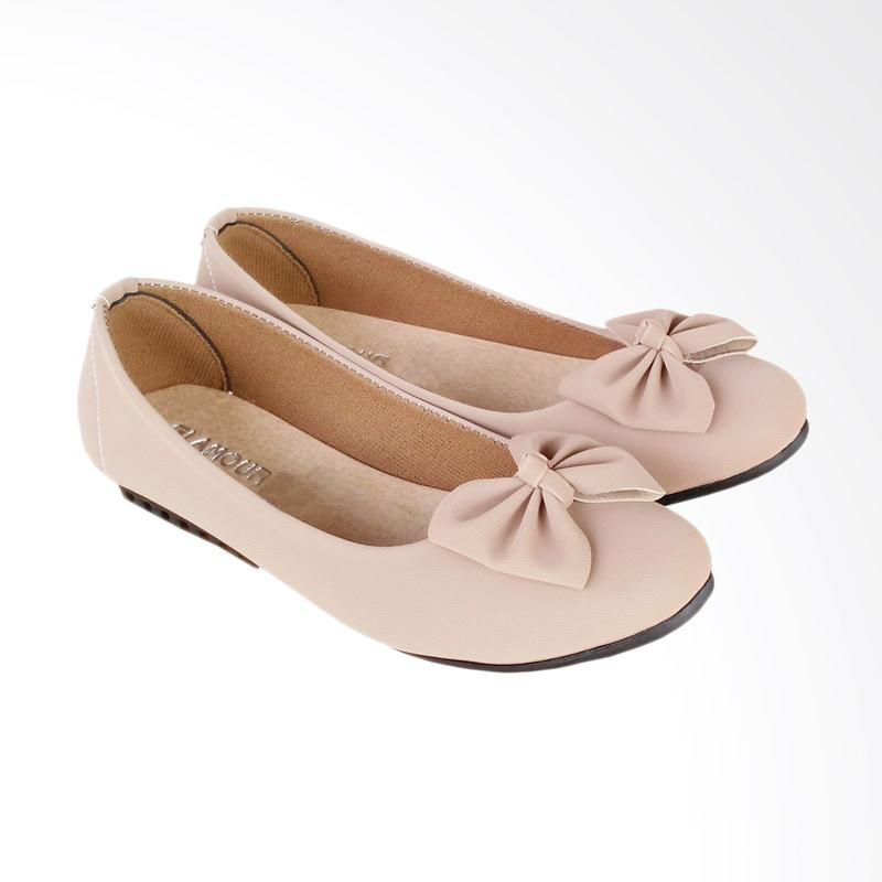 HQo KNY05 Sepatu Flat Shoes Slip On - Mocca