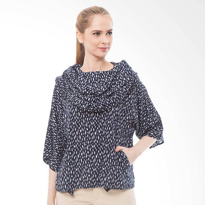 Tendencies Blouse Hervey Tops Atasan Wanita - Biru Dongker