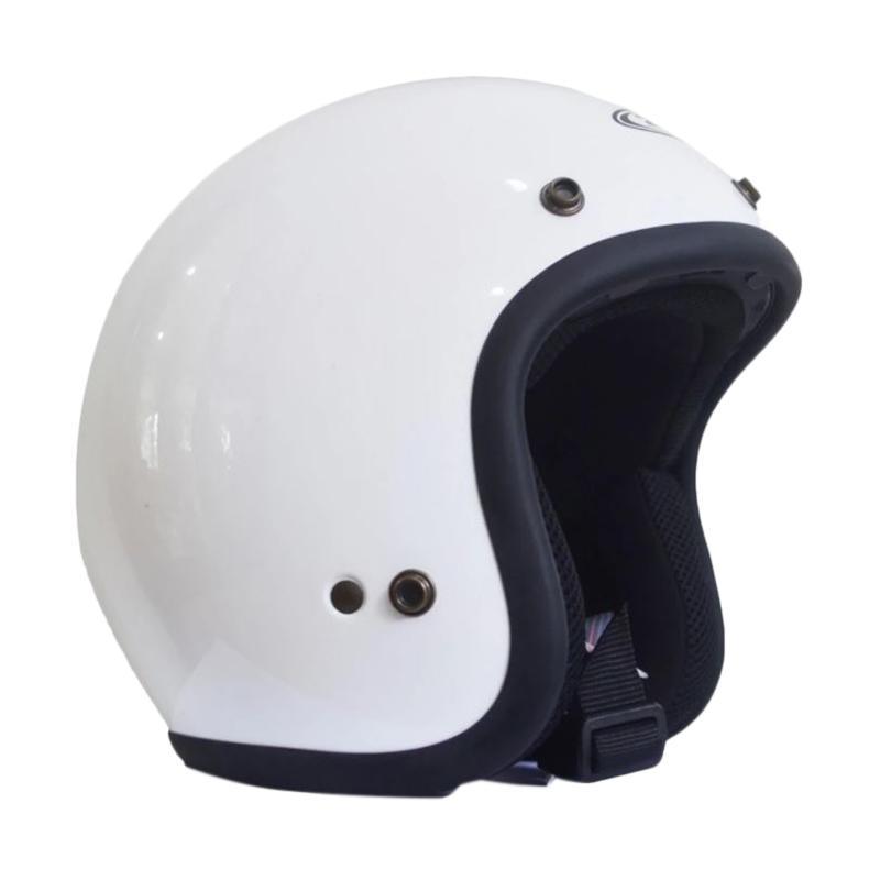 Zeus Retro ZS-385C Polos Helm Half Face - Putih List Hitam