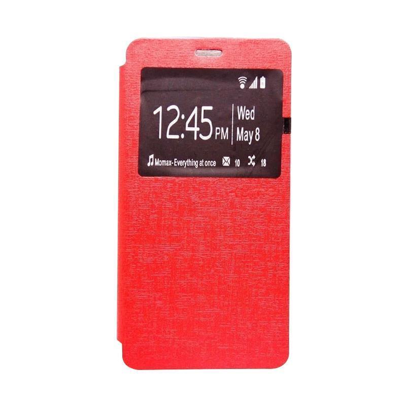 Ume Flip Case Flip Cover Window Casing for Andromax E2 Plus - Merah