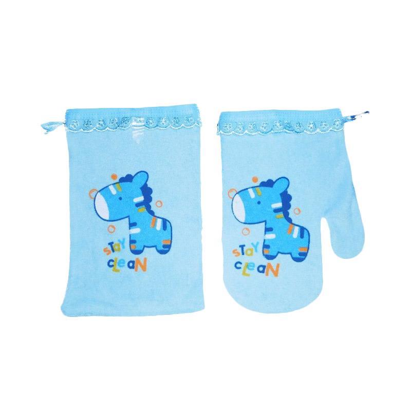 Kiddy Washlap Jari & Kotak Horse Perlengkapan Mandi Bayi - Biru