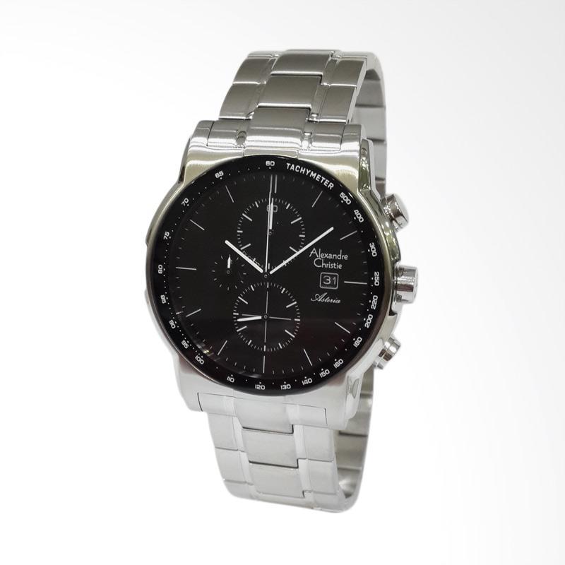 Alexandre Christie Asteria Chronograph Stainless Steel Jam Tangan Pria - Silver [6470MCBSSBA]