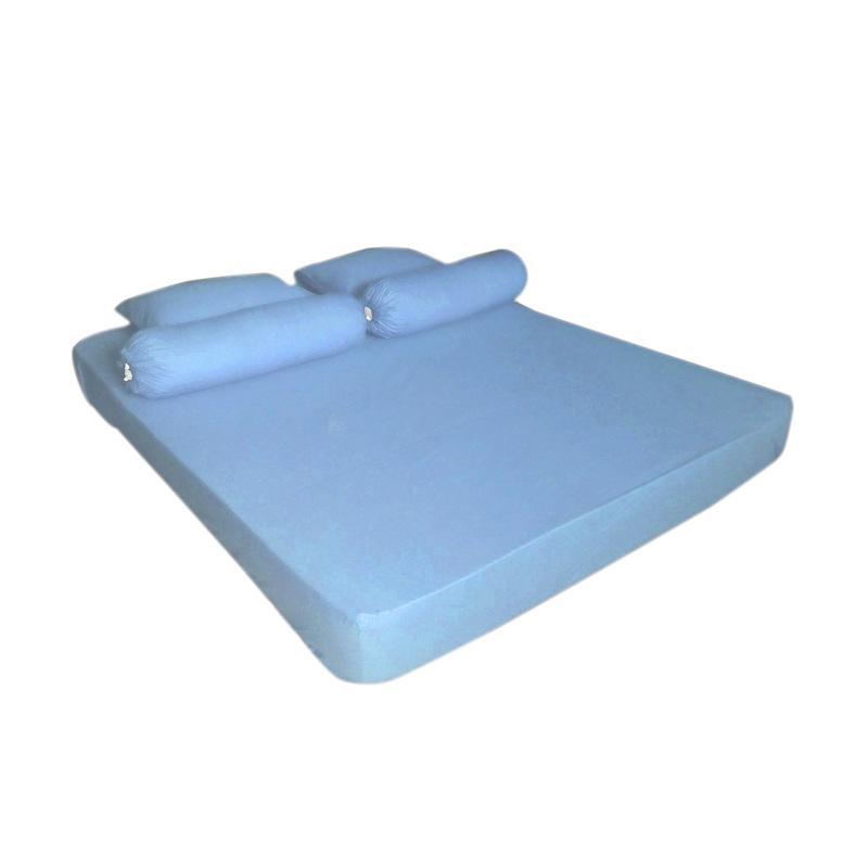 Tren-D-Home Pastel Series Polos Katun Polyester Set Sprei - Biru [180 x 200 x 20 cm]