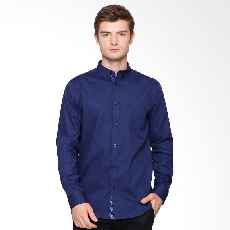 A&D Fashion Mens Long Sleeve Atasan Pria - Navy [Ms 999]