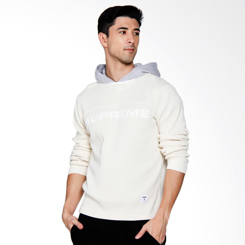Supreme New York Hooded Waffle Ringer Sweater Pria - White