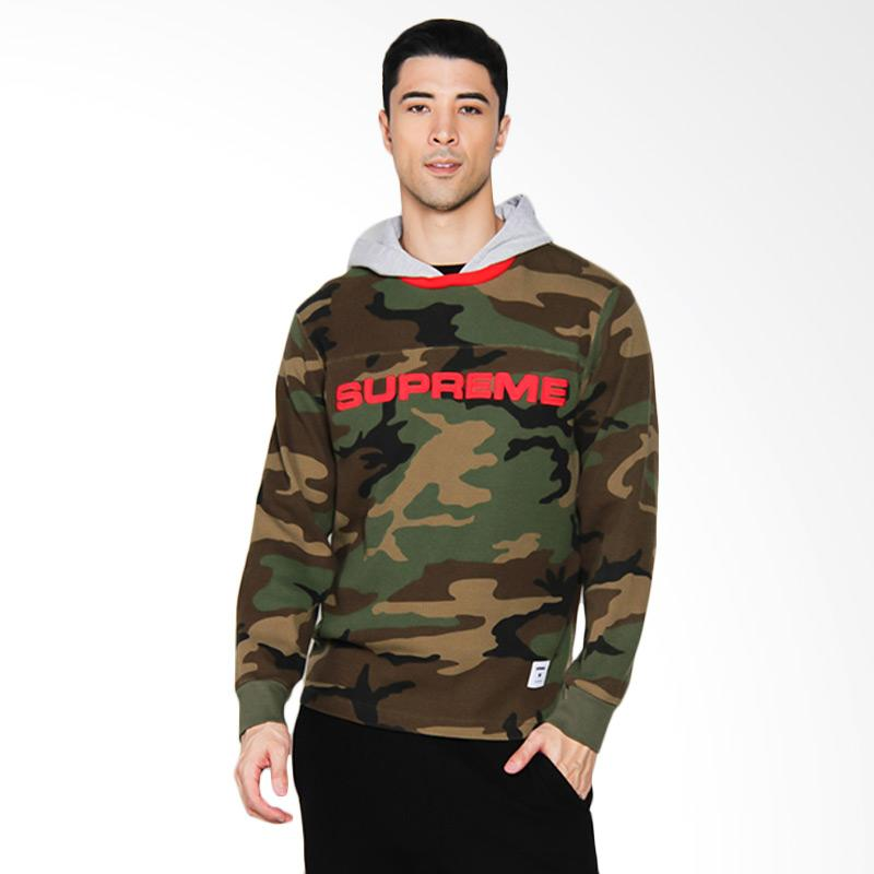 Supreme New York Hooded Waffle Ringer Camouflage Sweater Pria