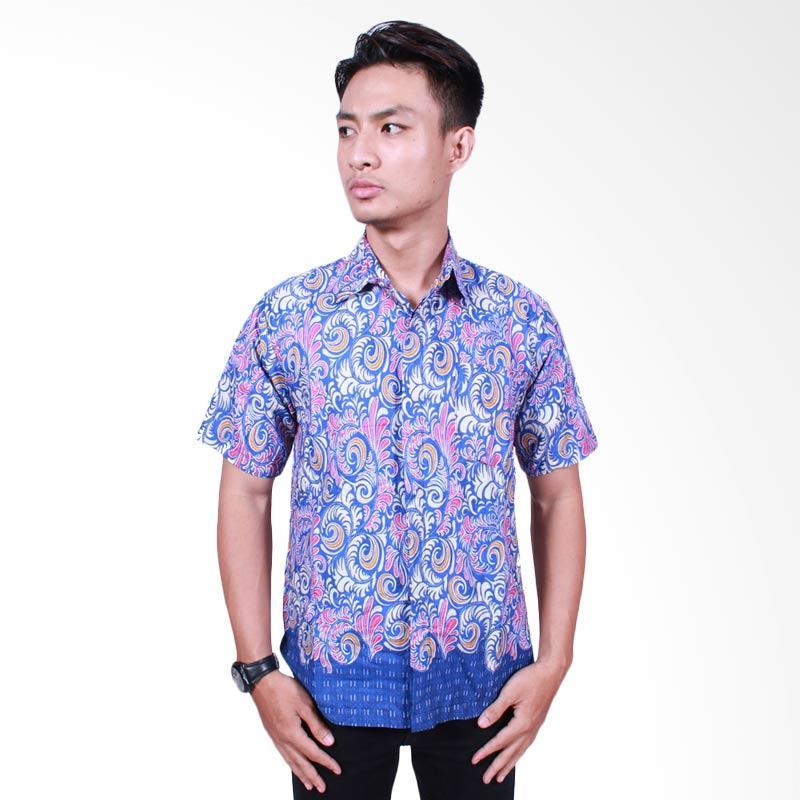 Batik Putri Ayu Solo Modern Kemeja Batik Pria - Biru [KPD 512]