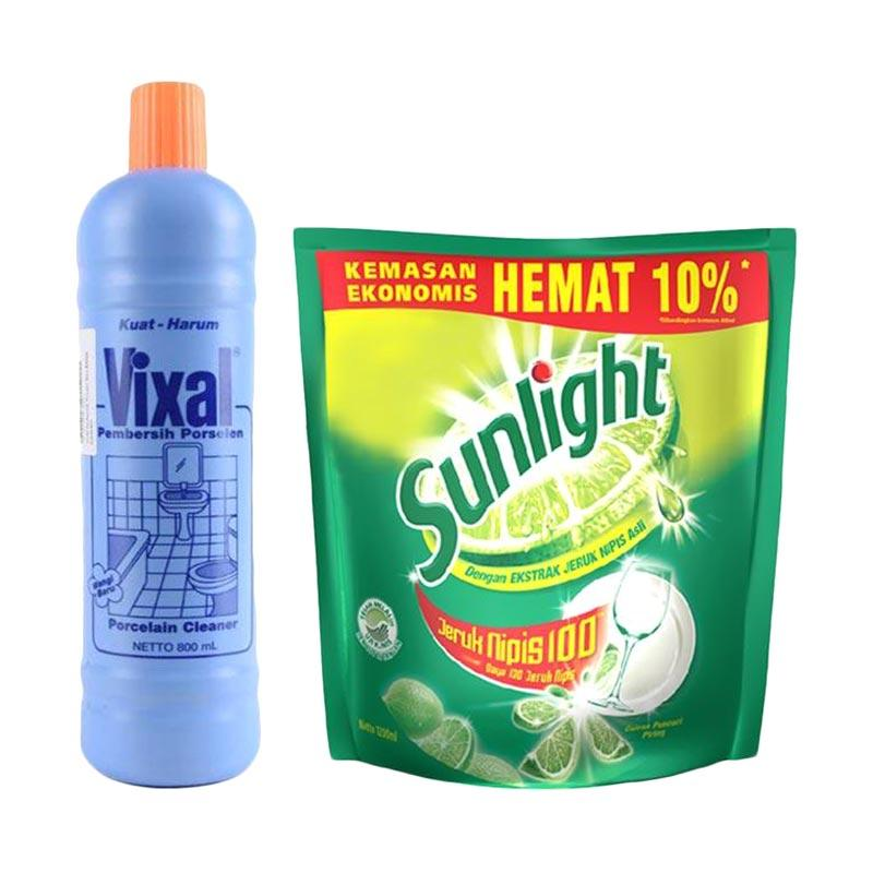 SUNLIGHT Lime Refile [1200 mL] dan Vixal Biru Kuat Harum Pembersih Porselen Biru Botol [800 mL]