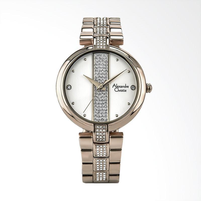 Alexandre Christie AC 2684 LH BCGSL Ladies White Dial Stainless Steel Jam Tangan Wanita - Rose Gold