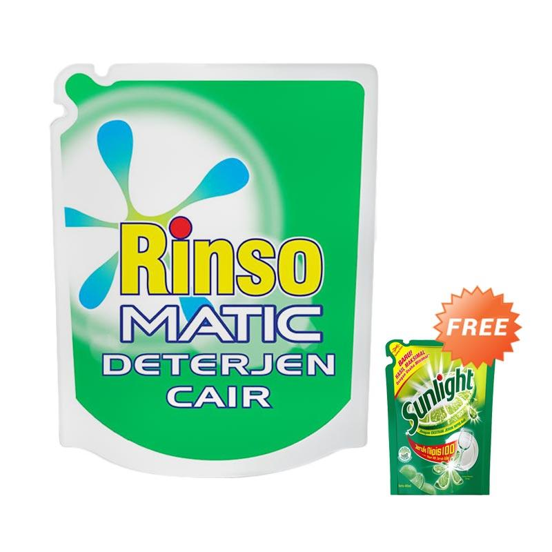 RINSO Matic Liquid Top Load Detergent Pouch [1600 mL] + Free Sunlight Lime reff [400 mL]