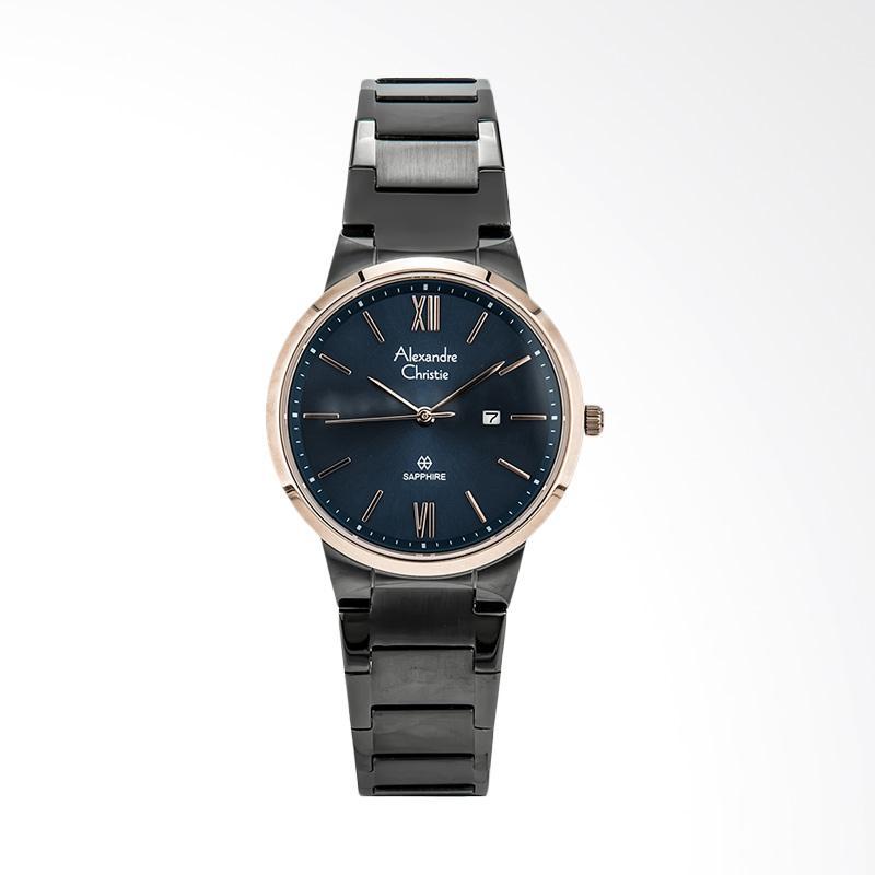 Alexandre Christie AC 8544 LD BGRBU Classic Stainless Steel Strap Jam Tangan Wanita - Black Dark Blue