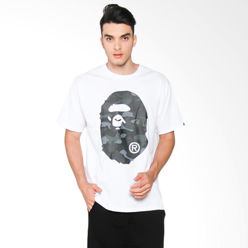A Bathing Ape Dot Camo Big Ape Head T-Shirt Pria - White x Black