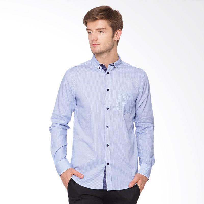A&D Fashion Casual Long Sleeve Kemeja Pria - Blue [MS 995]